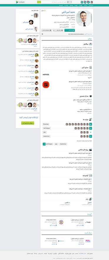 شبکه اجتماعی لینکت - صفحه پروفایل