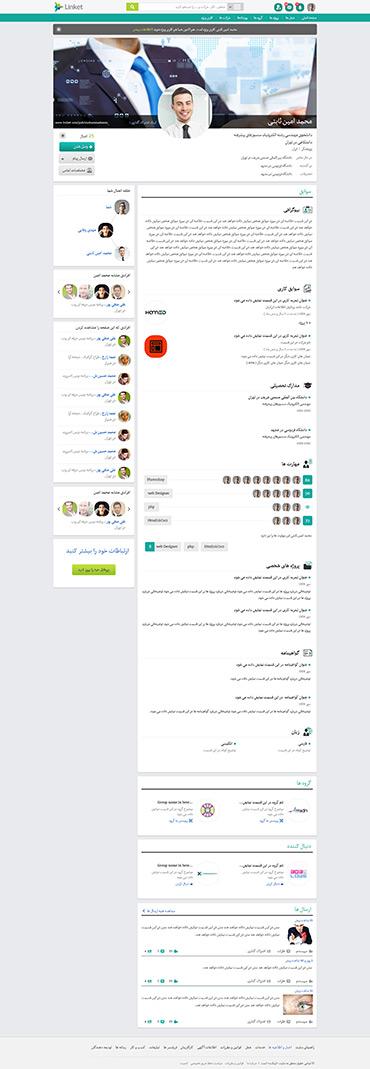 شبکه اجتماعی لینکت - پروفایل - داخلی